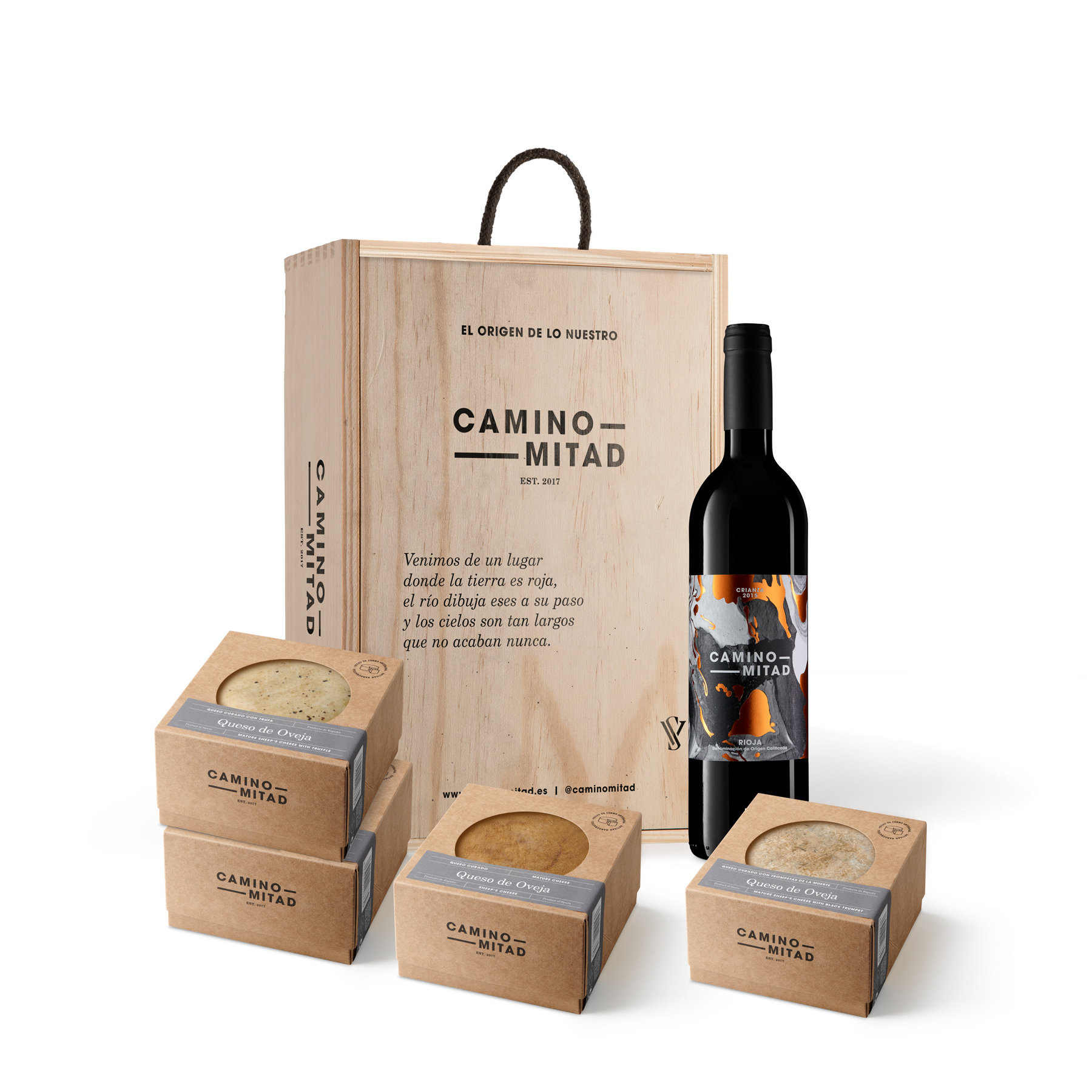 cheese and wine gift box - caja regalo queso vino rioja