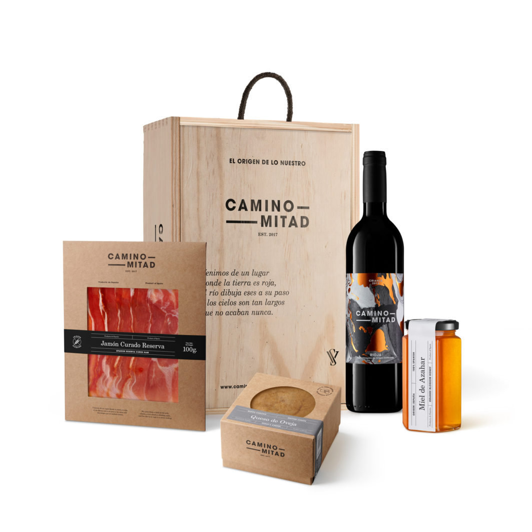 Gift box Spanish products - Caja regalo vino rioja miel queso jamon