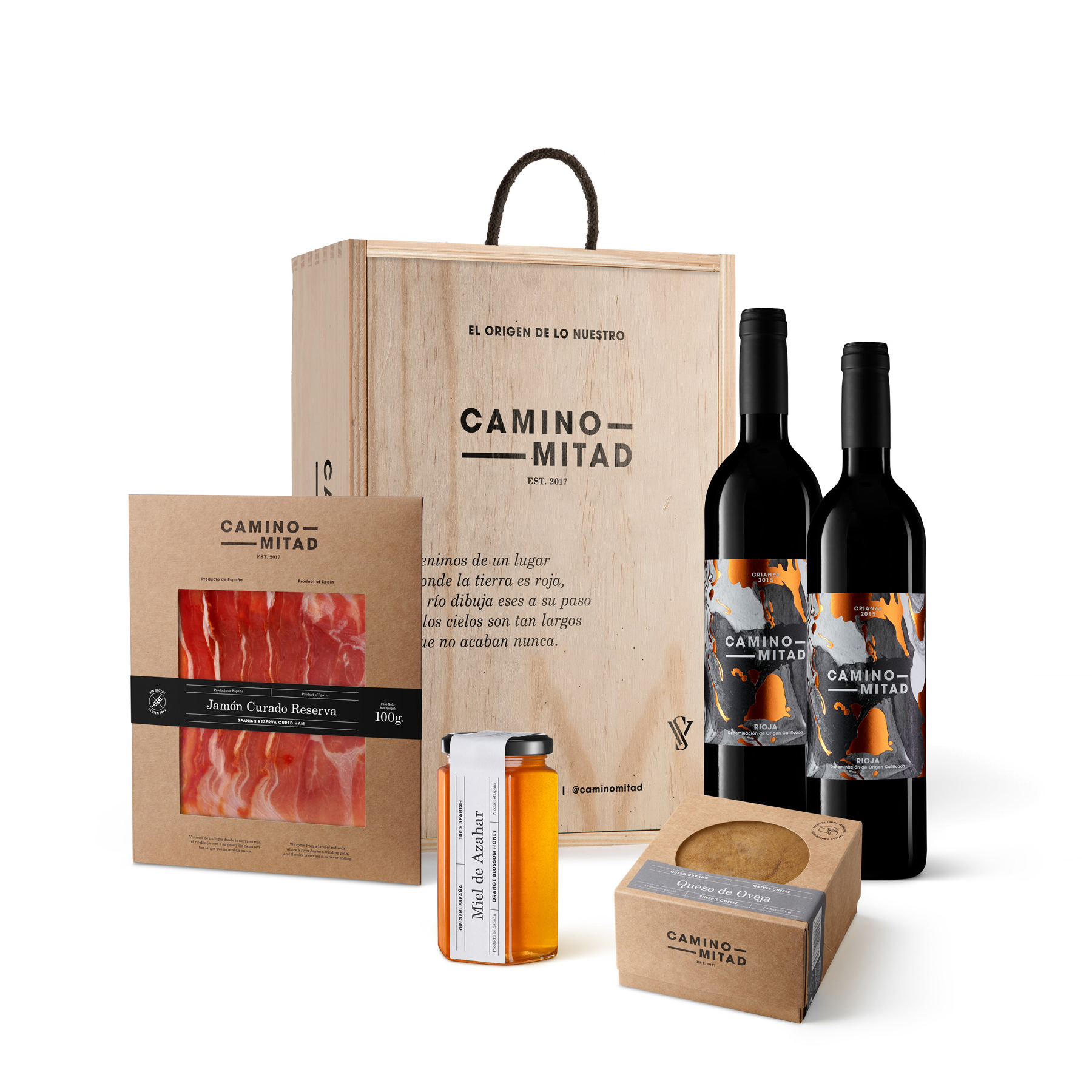 Spanish food gift box - Caja regalo vino queso jamon